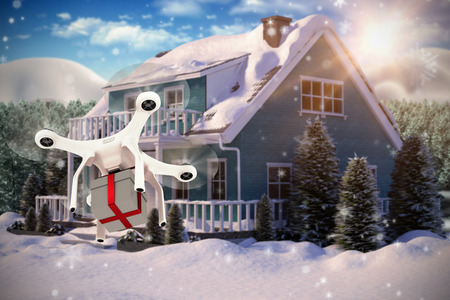 digitally generated image: Digitally generated image of quadcopter against snow falling