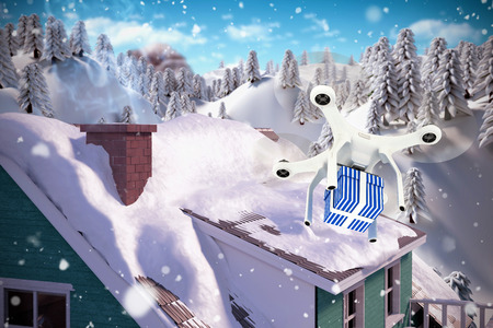 snowcapped mountain: Digital composite image of quadcopter with blue and white striped gift box against snow falling Stock Photo