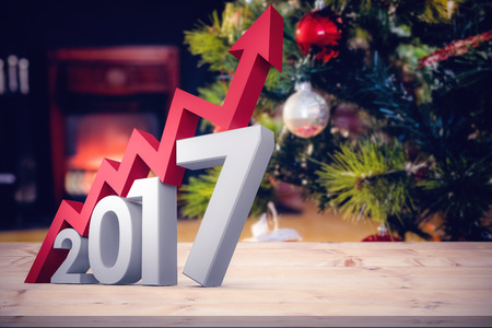 Digital composite of numbers with arrow against wrapped gifts near a christmas tree