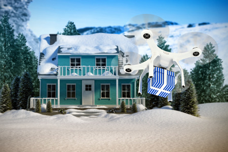 snowcapped: Digital composite image of quadcopter with blue and white striped gift box against snow falling Stock Photo
