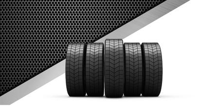 row: Row of tyres against black metal texture Stock Photo