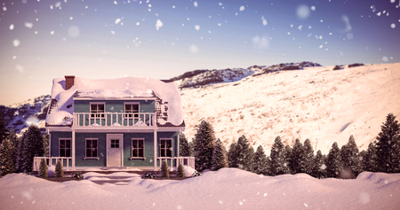 cg: Snow covered house against snowy mountain under blue sky
