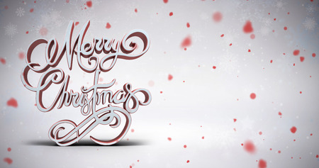 Three dimensional text of Merry Christmas against snowflake pattern
