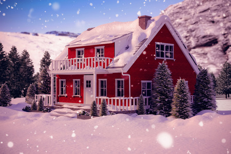 boreal: Snow covered house against snowy mountains