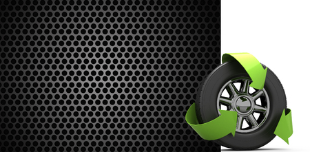 green arrows: Wheel with green arrows against black metal texture