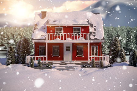 snowcapped landscape: Red house with trees  against digitally generated image of trees on snowy field Stock Photo