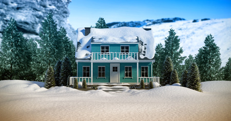 lush foliage: Three dimensional house snow covered against snowy mountains Stock Photo