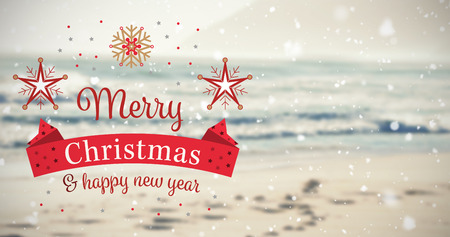 horizon over water: Christmas card against scenic view of beach