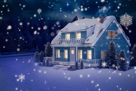 lush foliage: Illuminated turquoise house covered in snow against stars twinkling in night sky