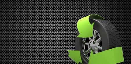 metal black: Wheel with green arrows against black metal texture