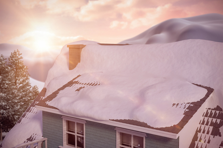 snowcapped mountain: Snow covered roof of house against digital composite of green forest
