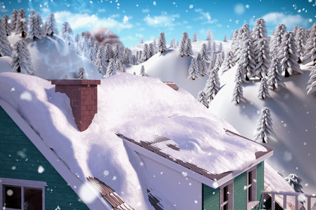 snowcapped: Snow on roof of house against snowcapped mountain with trees