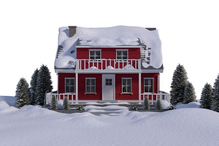against white: Red house with trees against white background Stock Photo