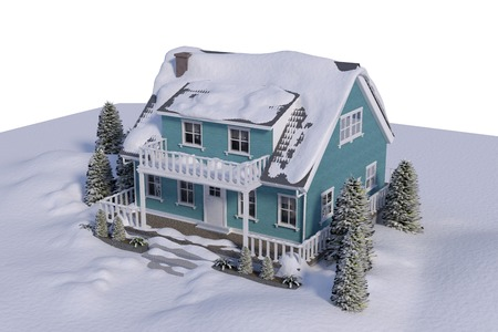 snow white: High angle view of house covered in snow against white background