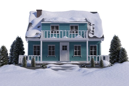 winter snow: Snow covered house against white background