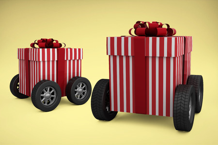 red gift box: Striped white and red gift box with wheels against yellow background