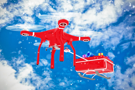 pulling beautiful: Drone pulling sledge against view of beautiful sky and clouds Stock Photo