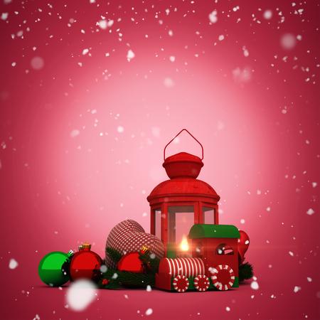 vignette: Snow falling against red vignette