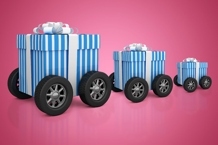 digitally generated image: Digitally generated image of gift box with wheels against red vignette