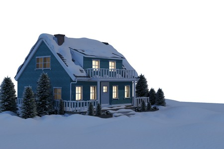 covered in snow: Illuminated turquoise house covered in snow against white background Stock Photo