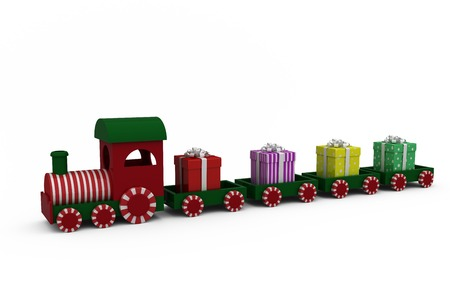 juguetes de madera: Train model carrying gift boxes against white background