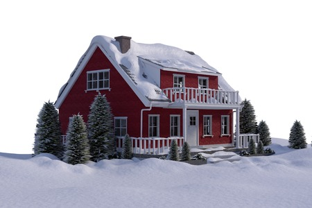 Snow covered house against white background