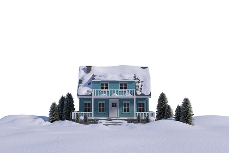 snow white: Snow covered three dimensional house against white background Stock Photo