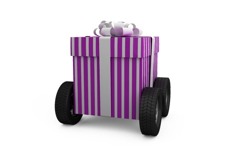 against white: Gift box with wheel against white background