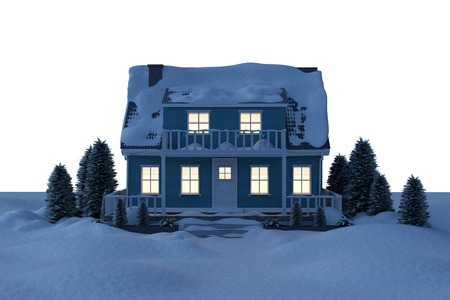 against white: Illuminated house covered in snow against white background