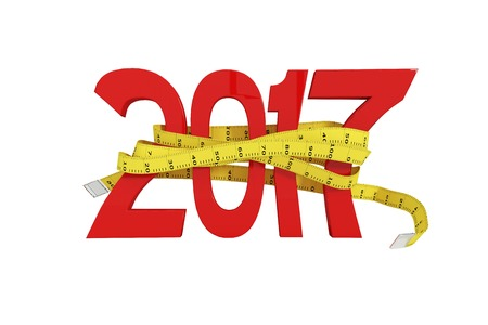 digitally generated image: Digitally generated image of new year with tape measure against white background