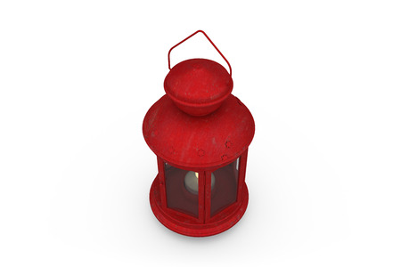 Red lantern with flame on white background