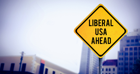 liberal: liberal usa ahead against view of apartment with blue sky