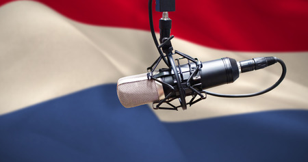 Condenser microphone against digitally generated dutch national flag