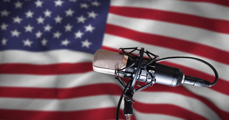 Condenser microphone against american flag