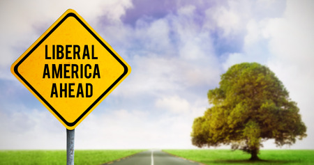 liberal: liberal america ahead against road leading out to the horizon