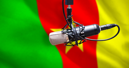condenser: Condenser microphone against digitally generated cameroon national flag