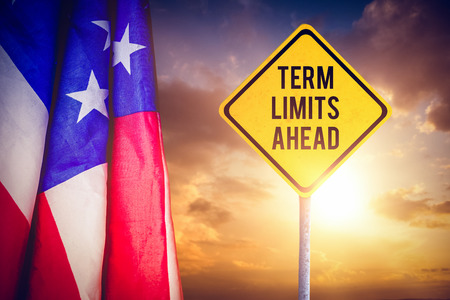 term: Term limits ahead against composite image of creased us flag Stock Photo