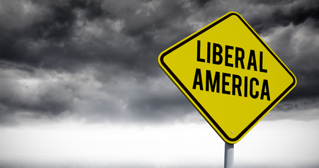 presidential: liberal america against stormy sky over road