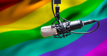 condenser: Condenser microphone against rainbow flag