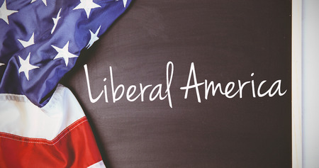 liberal: liberal america against american flag on chalkboard Stock Photo