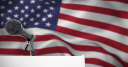 criss cross: Microphone on podium against american flag