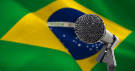 Microphone with stand against digitally generated brazil national flag