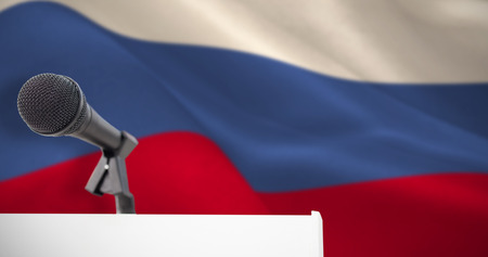 criss cross: Microphone on podium against digitally generated russian national flag