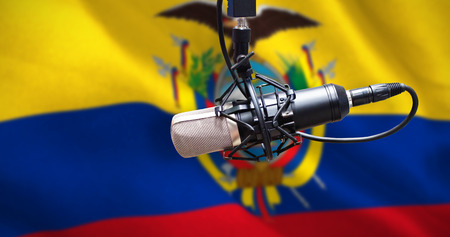 Condenser microphone against digitally generated ecuador national flag