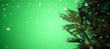 vignette: Snow falling against green vignette