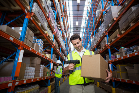 scanned: Warehouse worker using scanner in warehouse