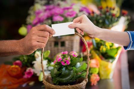 visiting card: Florist giving visiting card to customer in the flower shop