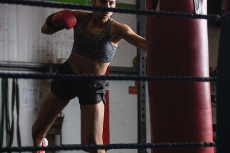 female boxer: Female boxer practicing boxing with punching bag in fitness studio LANG_EVOIMAGES