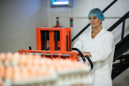 Female staff loading carton of eggs on pallet jack in egg factory LANG_EVOIMAGES