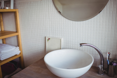 domicile: Close-up of wash basin at bathroom Stock Photo